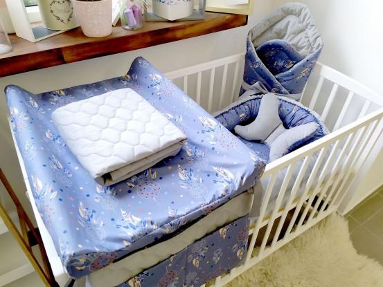 7-elementowa pościel do łóżeczka Velvet Granatowe Łapacze
