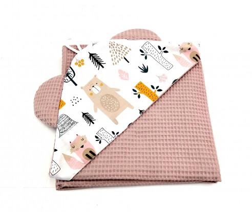 Ręcznik z kapturkiem Waffle Zwierzęta w Lesie