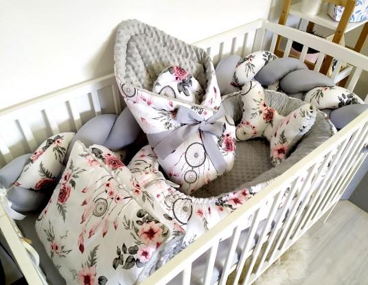 6-elementowa pościel do łóżeczka Różowe Łapacze Snów i Szary