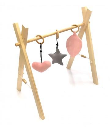 Stojak edukacyjny Baby Gym z zawieszkami Różowy Velvet