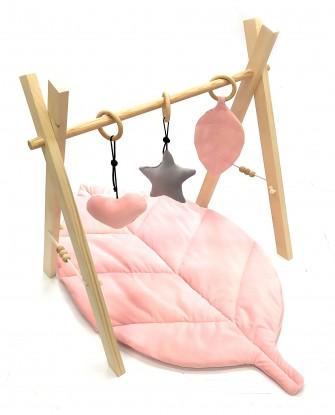 Stojak edukacyjny Baby Gym z zawieszkami i Matą Różowy Velvet