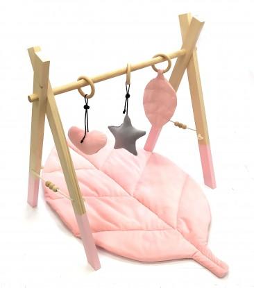 Stojak edukacyjny Baby Gym Róż z zawieszkami i Matą Różowy Velvet