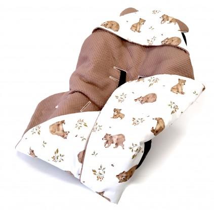 Kocyk do nosidełka i fotelika Niedźwiedzie (wersja letnia) [PREMIUM]