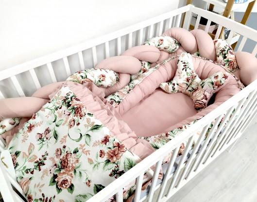 5-elementowa pościel do łóżeczka Róże z falbanką