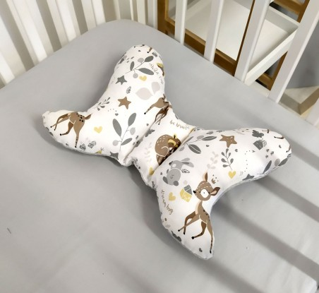 Poduszka Motylek Waffle Niedźwiedzie i Sarenki plus szary