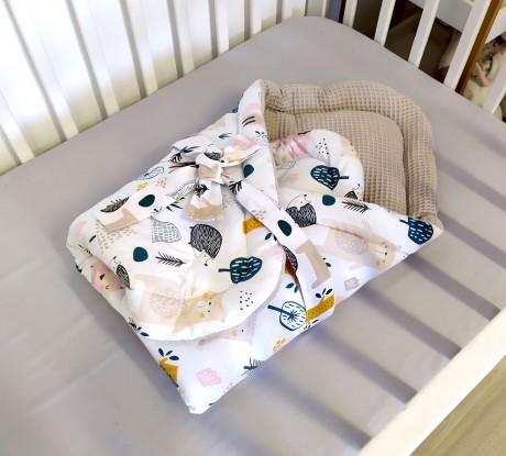 Rożek niemowlęcy Waffle Zwierzęta w Lesie i Piaskowy Beż