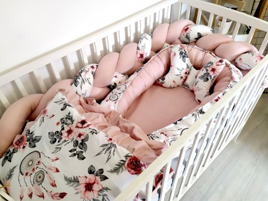 5-elementowa pościel do łóżeczka Różowe łapacze snów z falbanką