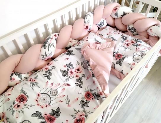 3-el pościel do łóżeczka Różowe łapacze snów z falbankami