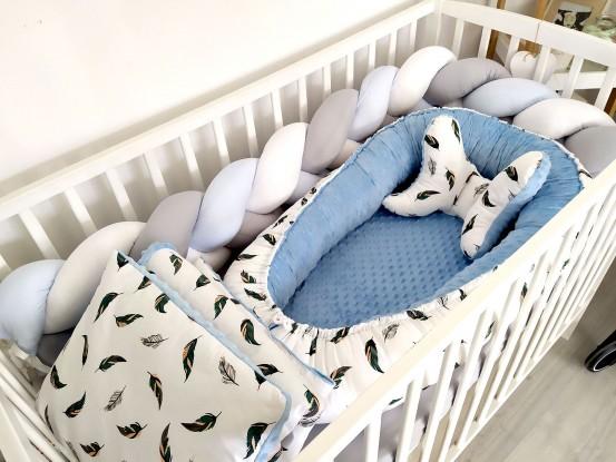5-elementowa pościel do łóżeczka Ciemne Piórka i Niebieski