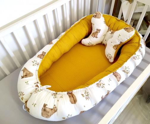Kokon niemowlęcy Waffle Niedźwiedzie i Miodowy [PREMIUM]