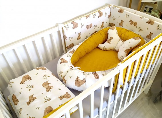 5-elementowa pościel do łóżeczka Waffle Niedźwiedzie i Miodowy [PREMIUM]