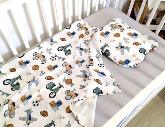 """Komplet bambusowy Mini Retro Boys z poduszką z uszkami (Karty do zdjęć """"Mój pierwszy rok"""" gratis!)"""