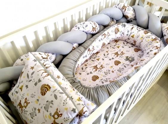 4-elementowa pościel do łóżeczka Velvet Niedźwiadki i Sarenki i Szary
