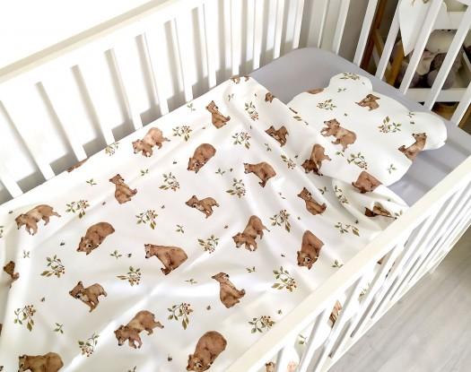 """Komplet bambusowy Mini Niedźwiadki z poduszką z uszkami (Karty do zdjęć """"Mój pierwszy rok"""" gratis!)"""
