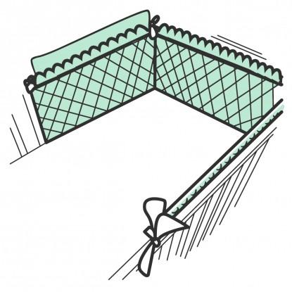 Ochraniacz panelowy pikowany z falbanką Velvet