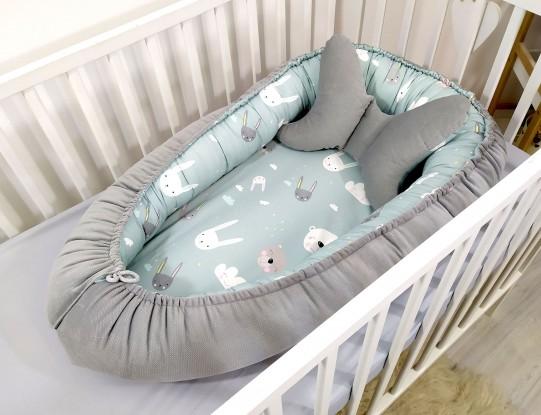 Kokon niemowlęcy Velvet Miętowe Misie [PREMIUM]