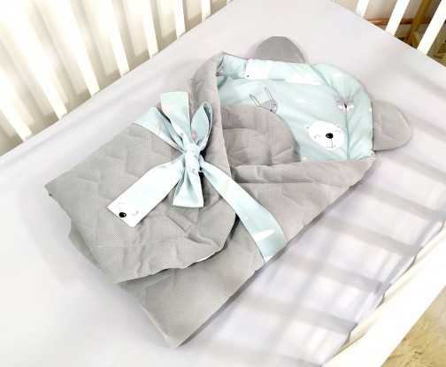 Rożek niemowlęcy Velvet Miętowe Misie [PREMIUM]