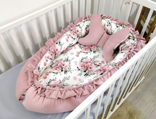 Kokon niemowlęcy Velvet Kwiaty [PREMIUM]