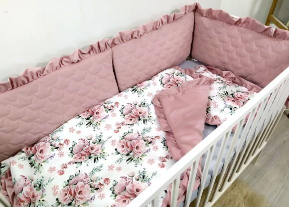 3-el pościel do łóżeczka Velvet Kwiaty [PREMIUM]