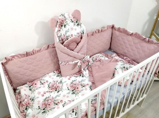 4-elementowa pościel do łóżeczka Kwiaty [PREMIUM]