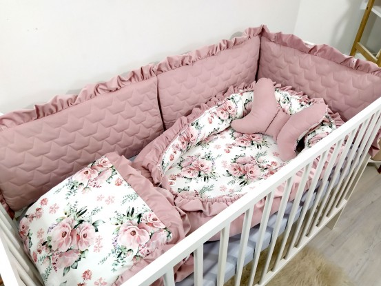 5-elementowa pościel do łóżeczka Velvet Kwiaty [PREMIUM]