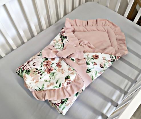 Rożek niemowlęcy Róże falbankami