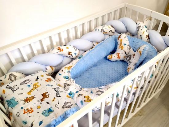 5-elementowa pościel do łóżeczka ZOO i Niebieski