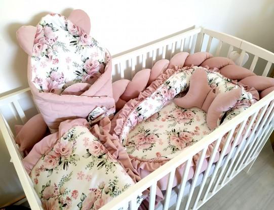 6-elementowa pościel do łóżeczka Velvet Kwiaty [PREMIUM]