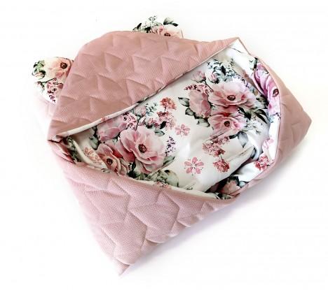 Kocyk do nosidełka i fotelika Kwiaty i Butelkowy Velvet (wersja ocieplana) [PREMIUM]