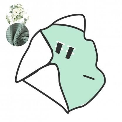 Kocyk do nosidełka i fotelika Białe Kwiaty i Oliwkowy Waffle (wersja ocieplana) [PREMIUM]