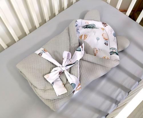 Rożek niemowlęcy Waffle Samoloty i Szary