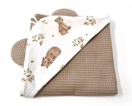 Ręcznik z kapturkiem Waffle Niedźwiadki i Ciemny Beż [PREMIUM]