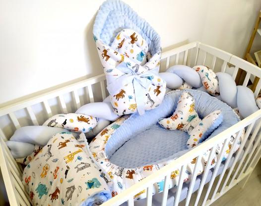 6-elementowa pościel do łóżeczka ZOO i Niebieski