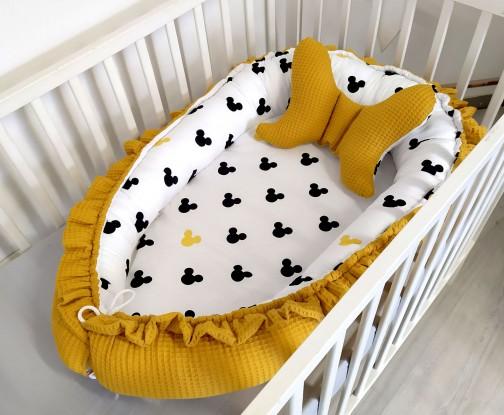 Kokon niemowlęcy Waffle z falbanką Miki