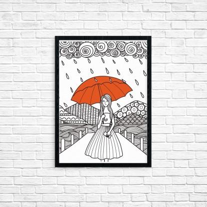 """Plakat A3 """"Dziewczyna z parasolem"""" (59)"""