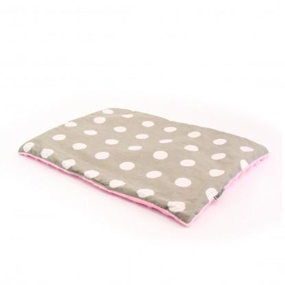 Płaska poduszka Minky Białe Groszki na Szarym + Różowe Minky 30x40cm