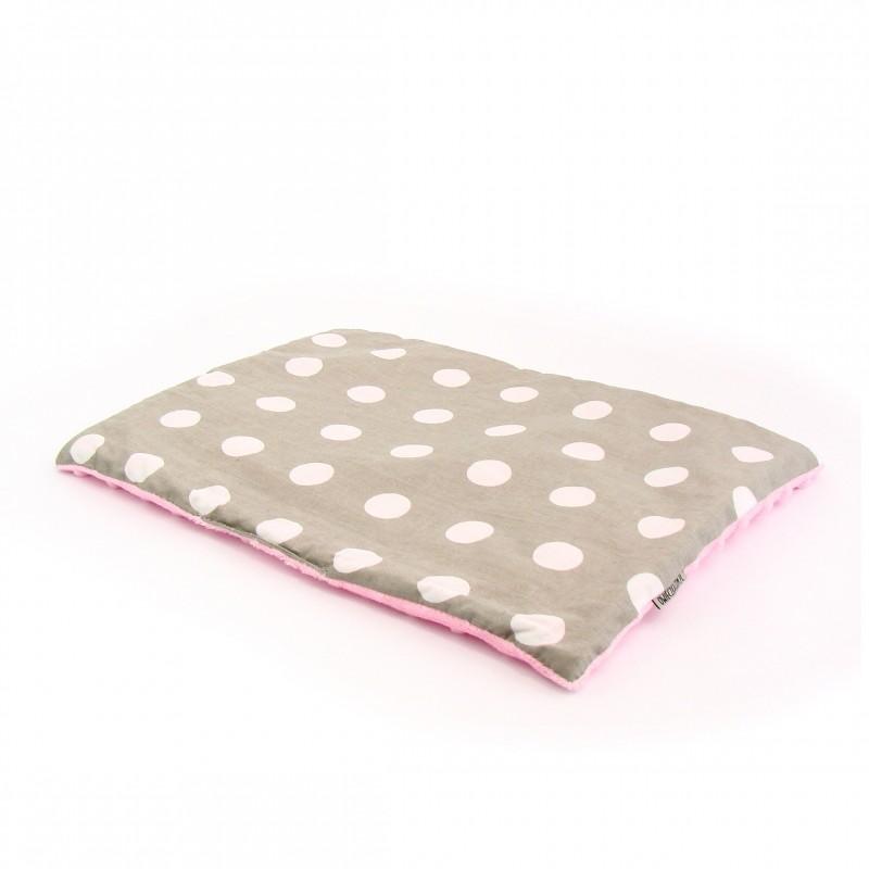 Płaska poduszka Minky Białe Groszki na Szarym + Różowe Minky