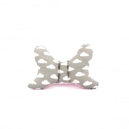 Poduszka Motylek Chmury na Szarym i Różowy